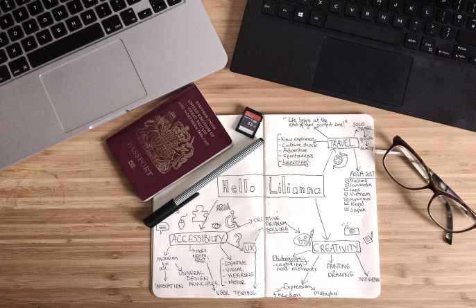 Wooden desk with a laptop, a passport, a pen, pair of glasses and a notebook