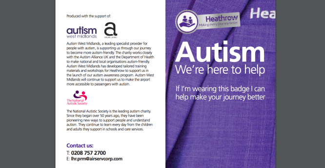 Screen shot of the front cover of the Autism Passenger Guide