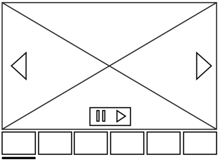 Wireframe of carousel with a pause button